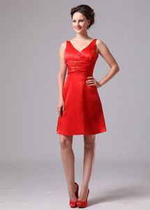 Zipper up Ruche V-neck Knee-length Dama Dresses in Red 2014