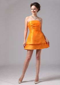 Orange Mini-length Dama Dresses For Quinceanera with Ruching