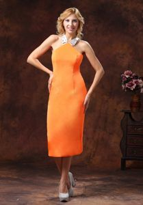 Halter Orange Tea-length Dama Dress For Quince with Criss Cross Back