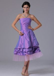 Lavender Tea-length Formal Dresses For Dama with Pick-ups