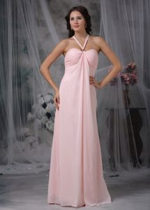 Halter Light Pink Dama Quinceanera Dress with Cutout Back