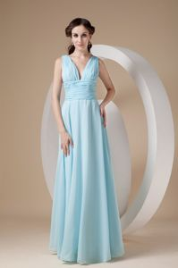 Aqua Blue Sheath V-neck Ruche Dama Dresses For Quinceanera