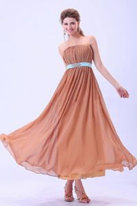 Ruching Rust Red Chiffon Ankle-length Dress For Dama With Blue Belt