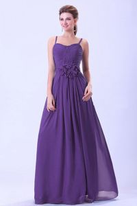 Dark Purple Spaghetti Straps Damas Dresses with Floral Waist