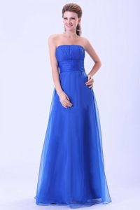 Empire Ruched Floor-length Dama Dress in Blue with Ruching