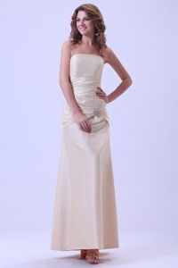 Latest Champagne Ankle-length Dama Dress with Dropped Waist
