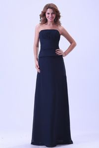 Navy Blue Strapless 15 Dresses For Damas with Ruched Bodice