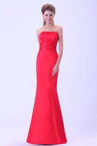 Coral Red Mermaid Brush Train Dama Dresses with Half Bow Accents