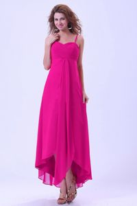 Hot Pink Spaghetti Straps Front Short Back Long Dama Dresses