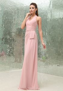 Light Pink Halter Neckline Brush Train Party Dama Dresses with Zipper up