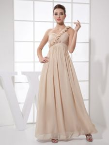 2014 Champagne Chiffon One Shoulder Ankle-length Dresses For Dama