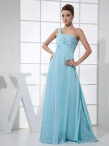 Light Blue One Shoulder Bridesmaid Dama Dresses with Ruching