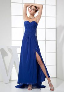 High Slit Sweetheart Watteau Train Blue Dama Dresses For Quinceanera