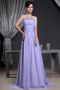 Lilac Quince Dama Dresses with Ruched Bodice and Spaghetti Straps