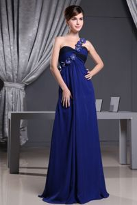 Royal Blue One Shoulder Quinceanera Damas Dresses with Flowers