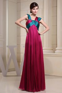 Green and Red Asymmetrical Neckline Dresses For Damas With Ruching