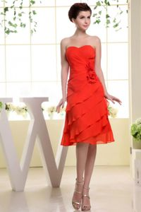 Red Knee-length Layers of Ruffles Damas Dresses For Quince with Cool Back