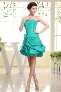 Turquoise Dama Dress For Quince with Hand Made Flower and Pick-ups