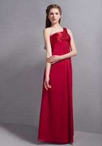 Wine Red One Shoulder Bridesmaid Dama Dresses with the Back Out