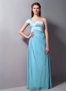 Light Blue Column One Shoulder Beaded Formal Dresses For Dama