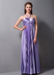 Lilac Column Halter Top Pleats Dama Dresses For Quince with Open Back
