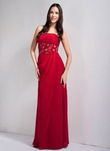Wine Red Empire Strapless Quince Dama Dresses with Floral Waist