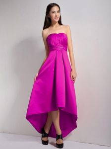 Fuchsia A-line Strapless Front Short Back Long Dama Dress with Appliques