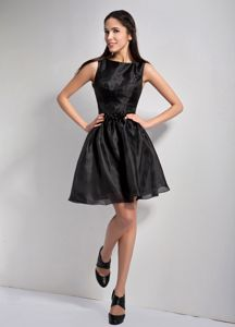 A-line Bateau Mini-length Little Black Dama Dress For Quinceaneras