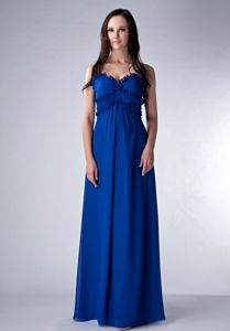 Royal Blue Empire Straps Floor-length Dama Dresses For Quinceanera