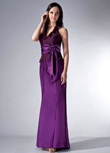 Eggplant Purple Halter Brush Train Quinceanera Damas Dresses with Bow