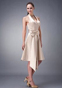 Halter Tea-length Champagne Quince Dama Dress with Oversized Bowknot