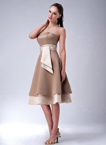 Brown Empire Sash Tea-length 15 Dresses For Damas with Laced up