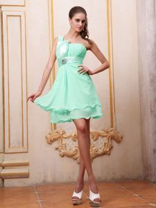 Apple Green One Shoulder Party Dama Dresses with Half Bow Accents