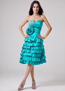 Aqua Blue Sweetheart Beading Ruffled Layers Dama Dress for Quinceanera