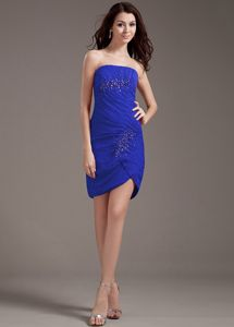 Strapless Blue Chiffon Mini-length Dama Dress with Beads Top