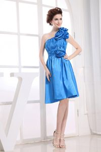 One Shoulder Aqua Blue Knee-length Dama Dresses with Flowers