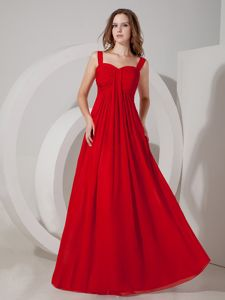 Red Empire Straps Chiffon Ruching Quinceanera Dama Dresses