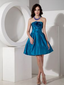 Teal Strapless Mini-length Dresses For Damas with Floral Embellishment