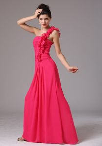 Coral Red One Shoulder Damas Dresses For Quince with Flowers