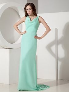Apple Green V-neck Sweep Train Prom Dress For Dama with Bow at the Back