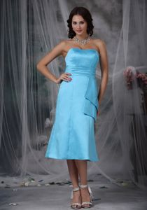 Aqua Blue Strapless Tea-length Bridesmaid Dama Dresses with Ruching