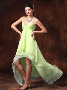 Yellow Green High-low Beaded Sweetheart Cocktail Dresses For Dama