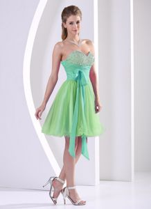 Sweetheart Multi-colored Knee-length Formal Dresses For Dama With Sash