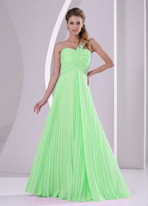 Spring Green One Shoulder Pleats Brush Train Party Dama Dresses