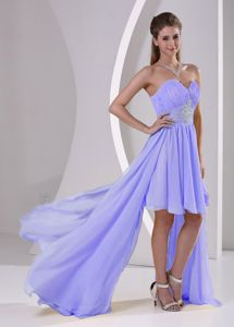 Lilac High-low Sweetheart Beaded Detachable Quince Dama Dresses
