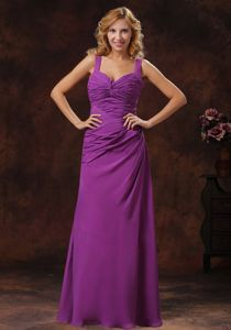 Purple Straps Floor-length 15 Dresses For Damas with Ruched Bodice