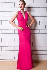 Hot Pink Column V-neck Long Dama Dress for 15 with Cutout Back