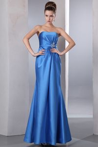Blue Column Beaded Ankle-length Satin Dama Dresses for Sweet 15