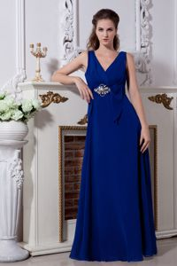 Empire V-neck 15 Dresses For Damas with Beading in Royal Blue