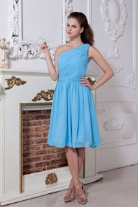 2013 Pretty Ruched Aqua Blue Short Dama Dresses One Shoulder